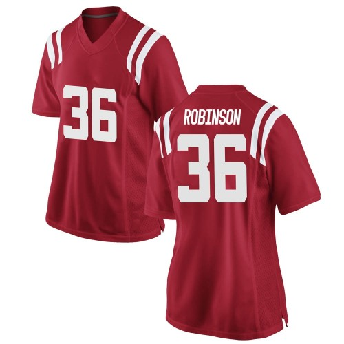 Women's Nike Mark Robinson Ole Miss Rebels Replica Red Football College Jersey