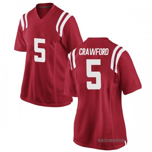 Women's Nike Markel Crawford Ole Miss Rebels Replica Red Football College Jersey