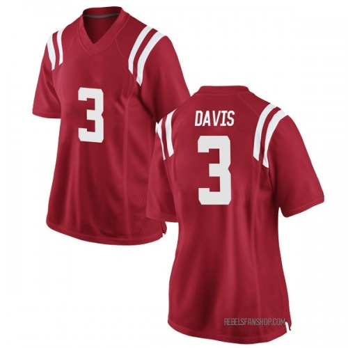 Women's Nike Terence Davis Ole Miss Rebels Game Red Football College Jersey