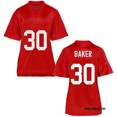 Women's Zikerrion Baker Ole Miss Rebels Replica Cardinal Football College Jersey
