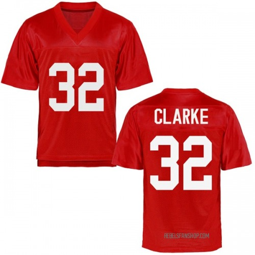 Youth Josh Clarke Ole Miss Rebels Replica Cardinal Football College Jersey