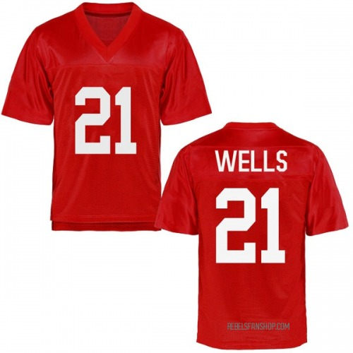 Youth Keshun Wells Ole Miss Rebels Replica Cardinal Football College Jersey