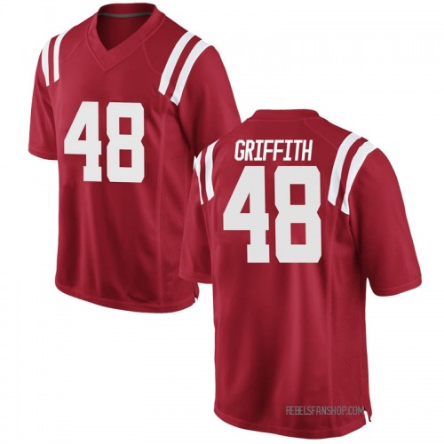 Youth Nike Andrew Griffith Ole Miss Rebels Game Red Football College Jersey