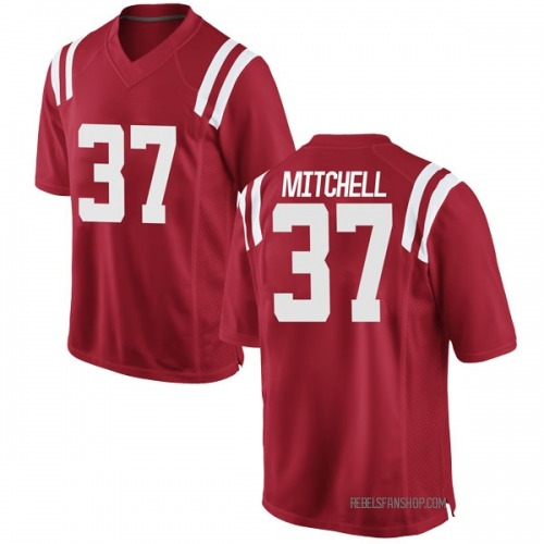 Youth Nike Art Mitchell Ole Miss Rebels Game Red Football College Jersey