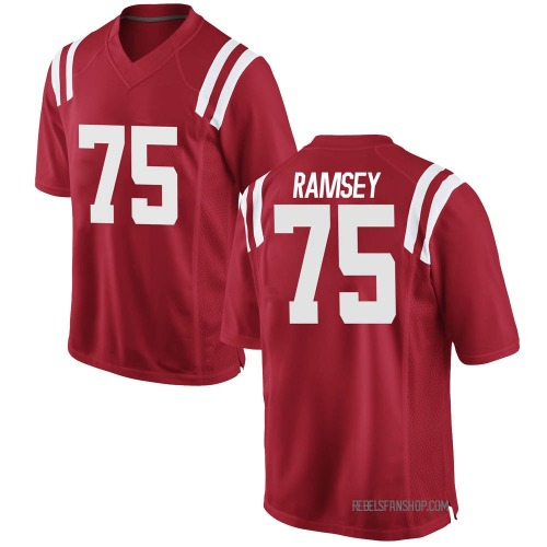 Youth Nike Bryce Ramsey Ole Miss Rebels Game Red Football College Jersey