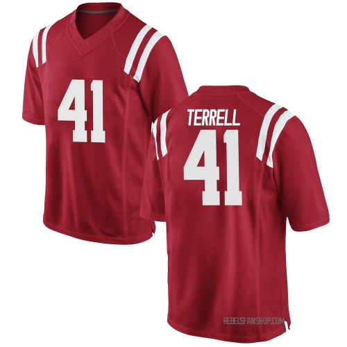Youth Nike CJ Terrell Ole Miss Rebels Game Red Football College Jersey