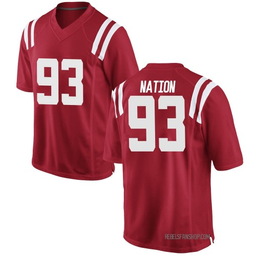 Youth Nike Cale Nation Ole Miss Rebels Game Red Football College Jersey