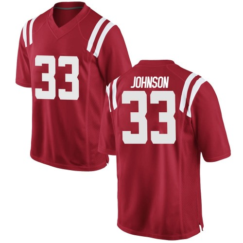 Youth Nike Cedric Johnson Ole Miss Rebels Game Red Football College Jersey