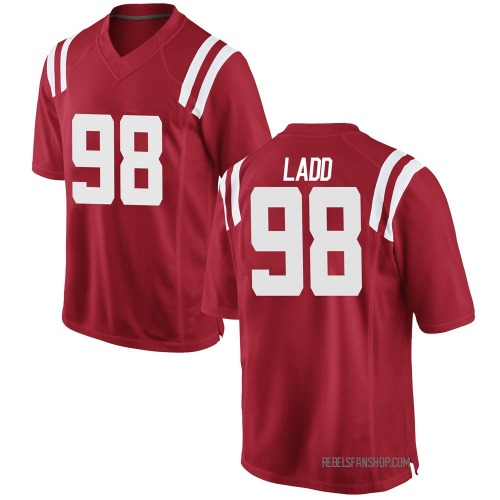 Youth Nike Clayton Ladd Ole Miss Rebels Game Red Football College Jersey