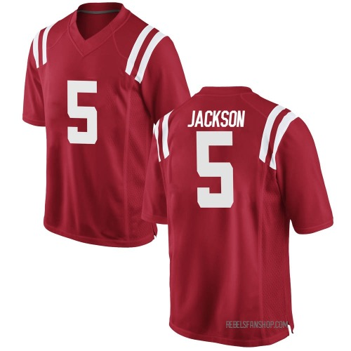 Youth Nike Dannis Jackson Ole Miss Rebels Game Red Football College Jersey