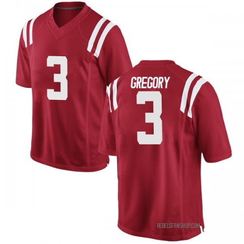 Youth Nike DeMarcus Gregory Ole Miss Rebels Game Red Football College Jersey