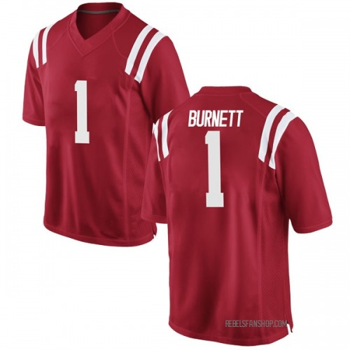 Youth Nike Deandre Burnett Ole Miss Rebels Game Red Football College Jersey