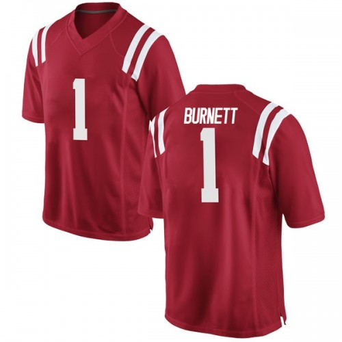 Youth Nike Deandre Burnett Ole Miss Rebels Replica Red Football College Jersey
