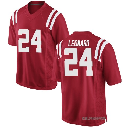 Youth Nike Deane Leonard Ole Miss Rebels Replica Red Football College Jersey