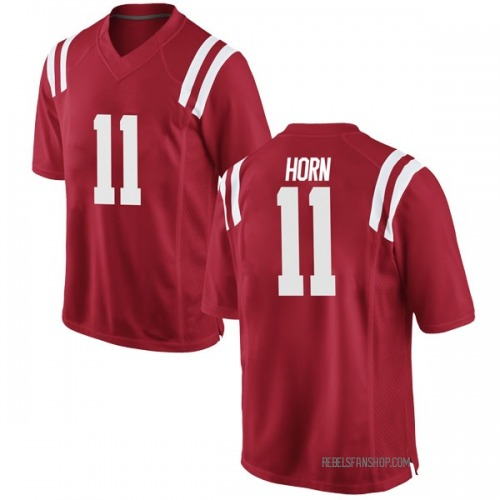 Youth Nike Eric Horn Ole Miss Rebels Game Red Football College Jersey