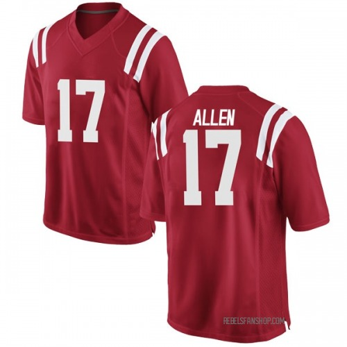 Youth Nike Floyd Allen Ole Miss Rebels Game Red Football College Jersey