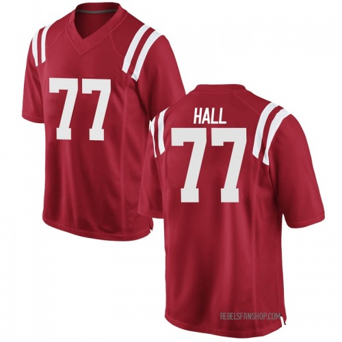 Youth Nike Hamilton Hall Ole Miss Rebels Replica Red Football College Jersey