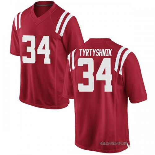 Youth Nike Ilya Tyrtyshnik Ole Miss Rebels Game Red Football College Jersey