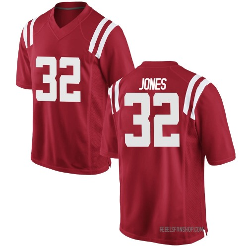 Youth Nike Jacquez Jones Ole Miss Rebels Game Red Football College Jersey