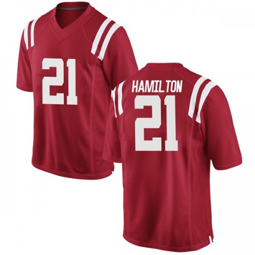 Youth Nike Javien Hamilton Ole Miss Rebels Replica Red Football College Jersey