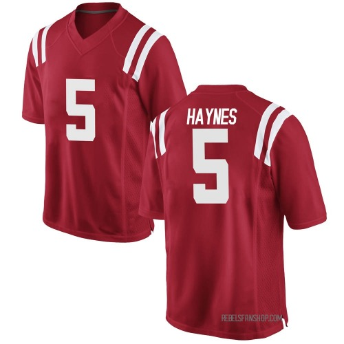 Youth Nike Jon Haynes Ole Miss Rebels Game Red Football College Jersey