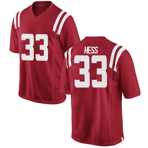 Youth Nike Jonathan Hess Ole Miss Rebels Replica Red Football College Jersey