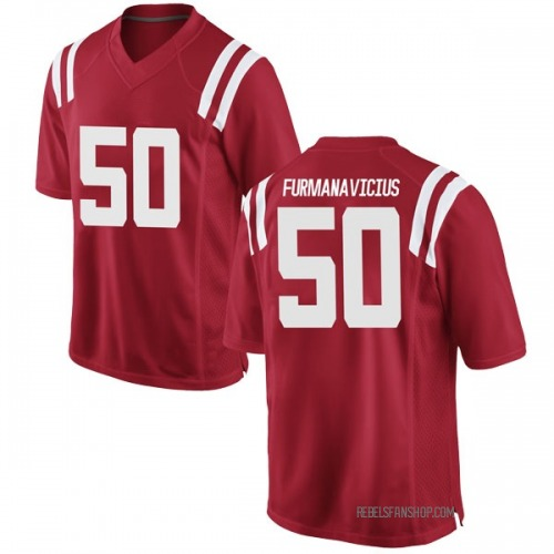 Youth Nike Justas Furmanavicius Ole Miss Rebels Game Red Football College Jersey