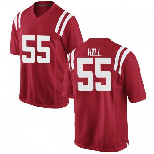 Youth Nike KD Hill Ole Miss Rebels Game Red Football College Jersey