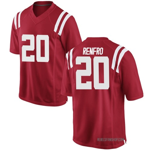Youth Nike Kade Renfro Ole Miss Rebels Game Red Football College Jersey