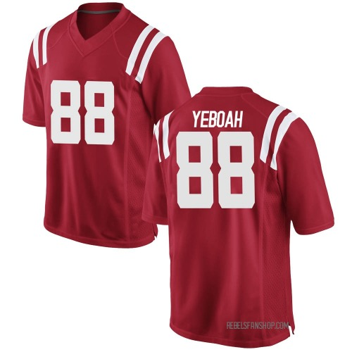 Youth Nike Kenny Yeboah Ole Miss Rebels Replica Red Football College Jersey