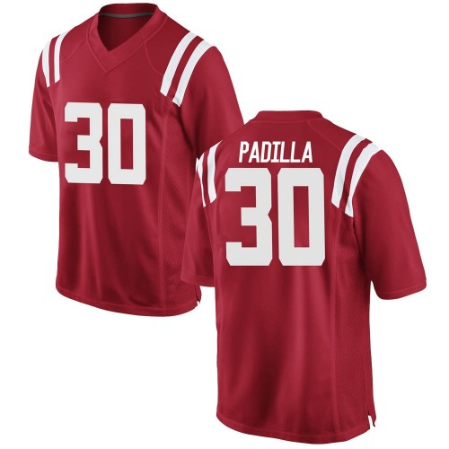 Youth Nike Mario Padilla Ole Miss Rebels Game Red Football College Jersey