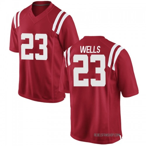 Youth Nike Nevin Wells Ole Miss Rebels Game Red Football College Jersey