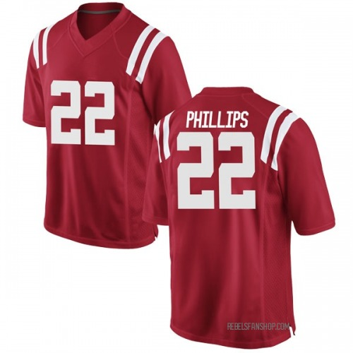 Youth Nike Scottie Phillips Ole Miss Rebels Game Red Football College Jersey