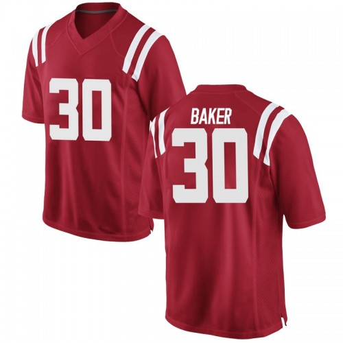 Youth Nike Zikerrion Baker Ole Miss Rebels Game Red Football College Jersey
