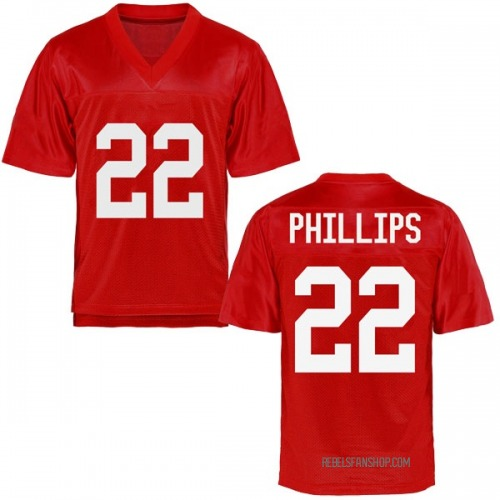 Youth Scottie Phillips Ole Miss Rebels Replica Cardinal Football College Jersey