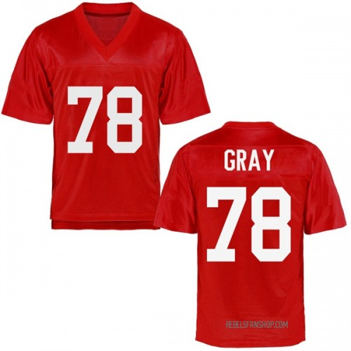 Youth Tony Gray Ole Miss Rebels Game Gray Cardinal Football College Jersey