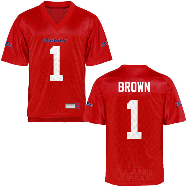Men's A.J. Brown Ole Miss Rebels Game Brown Football Jersey Cardinal
