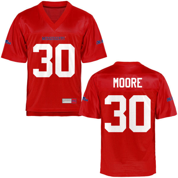 Youth A.J. Moore Ole Miss Rebels Game Football Jersey Cardinal
