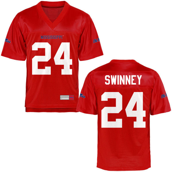Youth Eric Swinney Ole Miss Rebels Game Football Jersey Cardinal