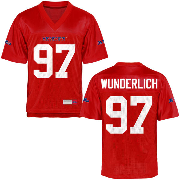 Youth Gary Wunderlich Ole Miss Rebels Game Football Jersey Cardinal