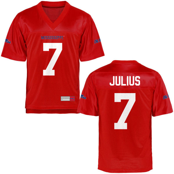 Youth Jalen Julius Ole Miss Rebels Game Football Jersey Cardinal