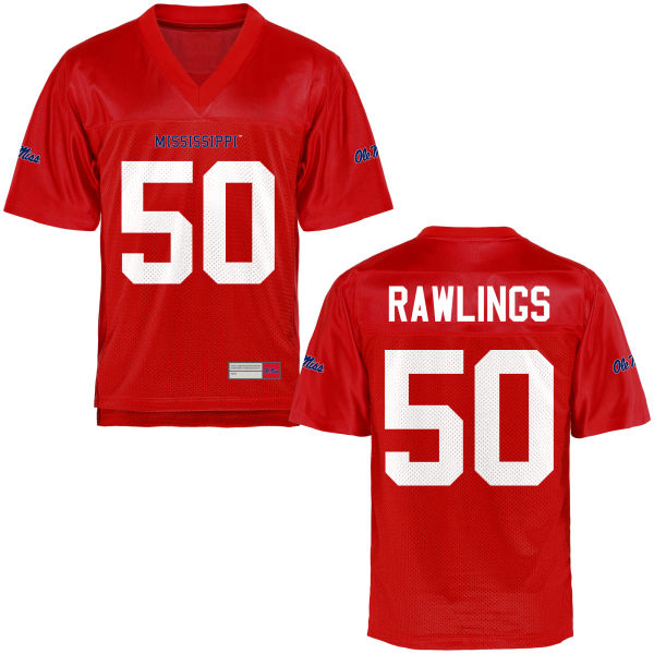 Youth Sean Rawlings Ole Miss Rebels Game Football Jersey Cardinal